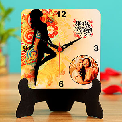 You Are Strong Personalised Table Clock Hand Delivery:Womens Day All Gifts