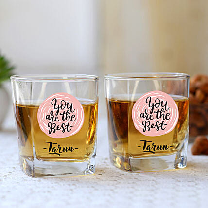 You Are The Best Personalised Whiskey Glass Set Of 2