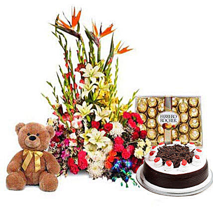 You Deserve the Best - One feet tall from Archies, 1kg Black forest cake from 5 star Hotel, 300gm Ferrero Rocher Chocolate pack, a designer arrangement of 100 exotic and seasonal flowers.:Send Roses And Teddies