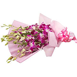 Splendid Purple Orchids - Bunch of 6 purple orchids.