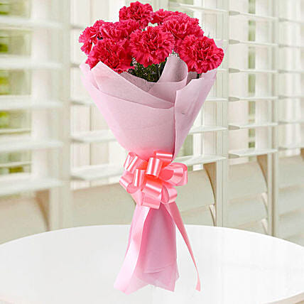 Blissful 8 Pink Carnations Bouquet:Send Birthday Flowers To Malaysia