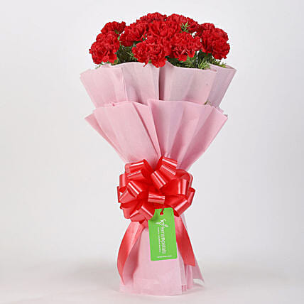 Classic 12 Red Carnations Bouquet:Birthday Flowers Delivery To Malaysia