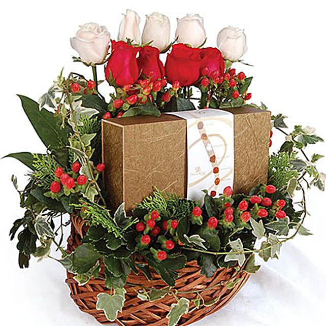 Divine Chocolate And Rose Basket