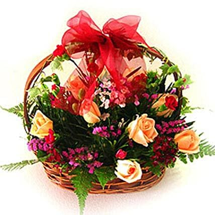 Exceptional Floral Beauty Basket:Anniversary Gifts for Him to Malaysia