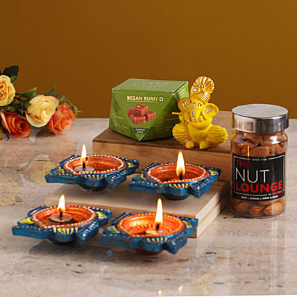 Grand Diwali Gift With Flute Ganesha Idol online:Diwali Sweets Delivery in Malaysia