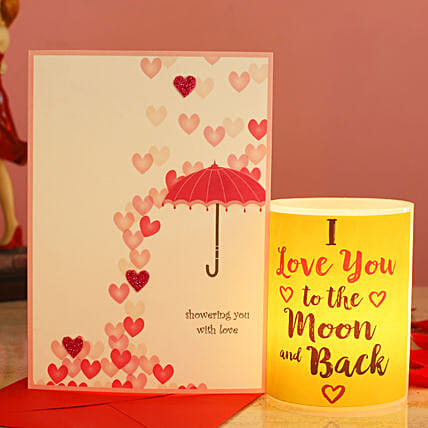 Love You To The Moon Hollow Candle Love Umbrella Greeting Card:Send Valentines Day Gifts to Malaysia