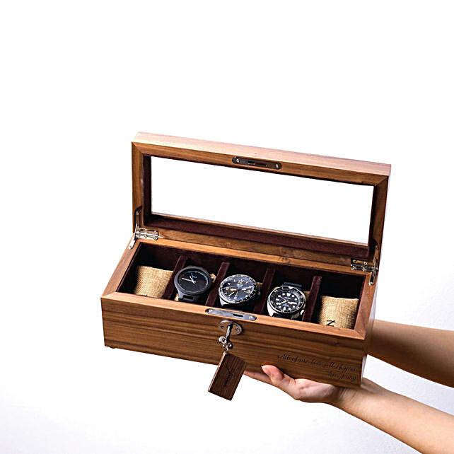 Personalised 5 Slots Walnut Wood Watch Box
