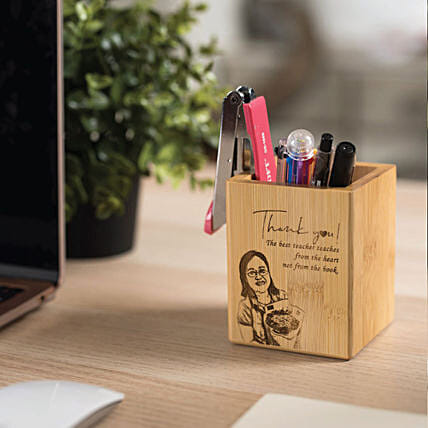 Personalised Bamboo Pen Holder:Gifts for Kids to Malaysia