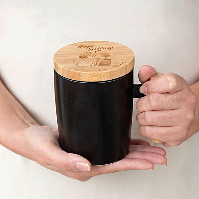 Personalised Ceramic Mug With Wooden Handle
