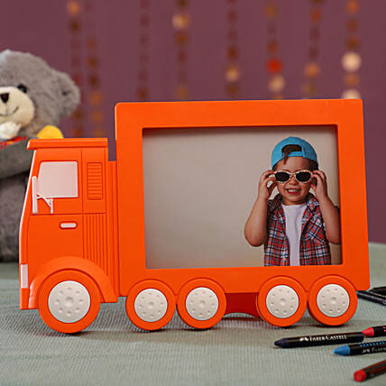 Personalised Orange Truck Photo Frame