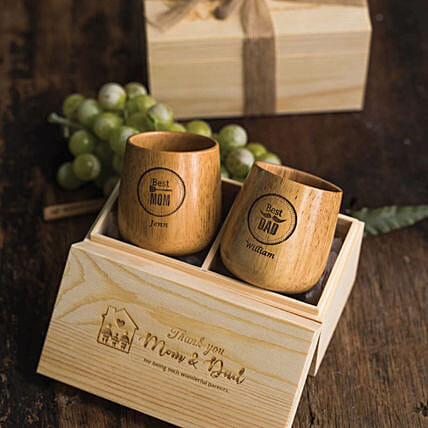 Personalised Wooden Couple Cup Set