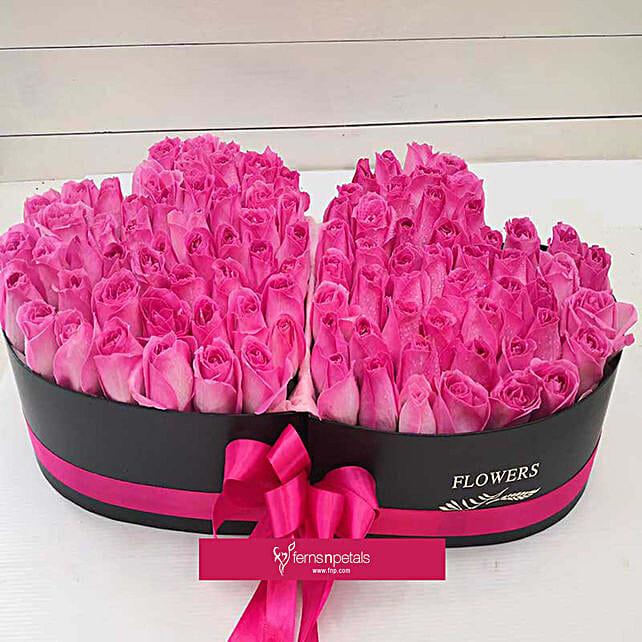 Pink Roses Heart Basket