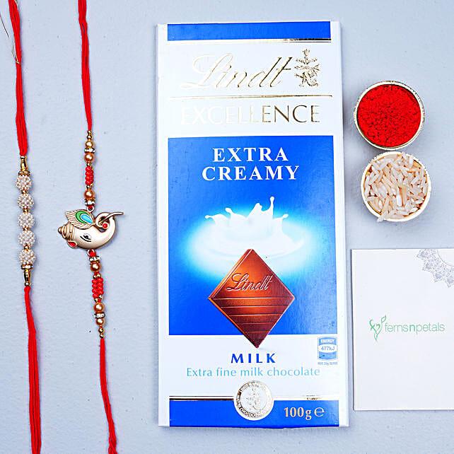 Set of 2 Rakhis And Chocolate Combo