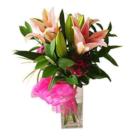 Stargazer Lilies in Vase:New Arrival Gifts Malaysia