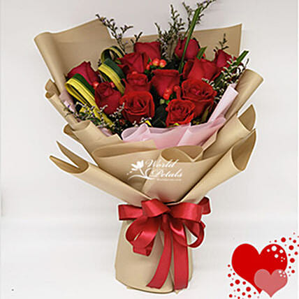 Red Rose Bunch With Red Ribbon
