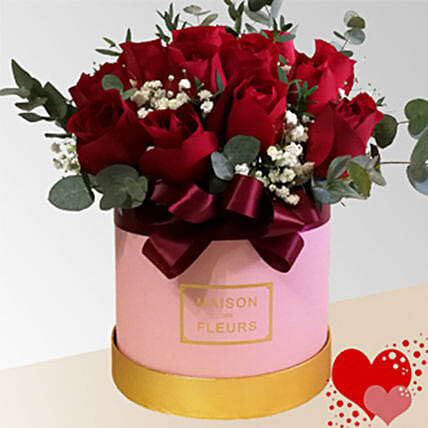 Red Roses In Pink Box Arrangement:Send Flowers to Malaysia