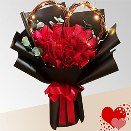Red Rose With Black Packaging Bunch