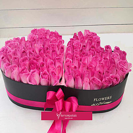 Pink Roses Heart Basket:Flower Delivery in Malaysia