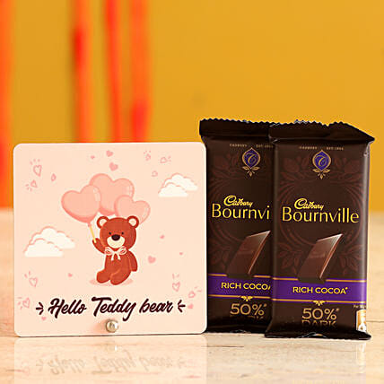 Teddy Print Table Top With Bournville Dark Chocolate