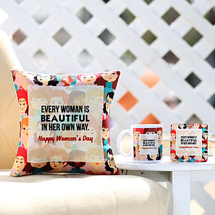 Online Women's Day Cushion with Mug And Table Top