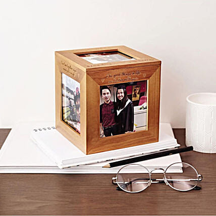 Personalised Wooden Photo Cube Box:Gifts for Husband to Malaysia
