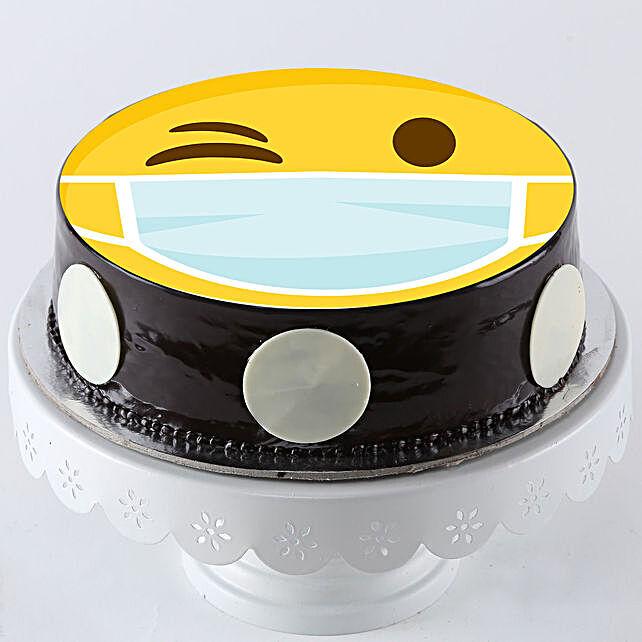 Wink Emoji Mask Chocolate Cake