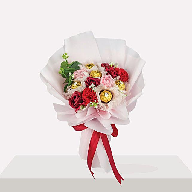 Mesmerizing Mixed Flowers Bouquet And Ferrero Rocher