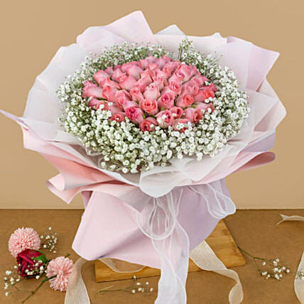 Ravishing Pink Flowers Beautifully Tied Bouquet:Flower Delivery in Malaysia