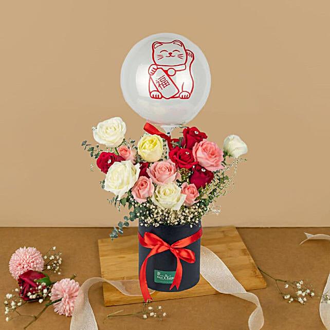 Striking Mixed Roses Box And Bubble Balloon