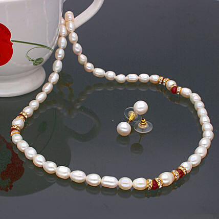 Navishka One Line  Pearl set:Send Daughters Day Gifts to Malaysia
