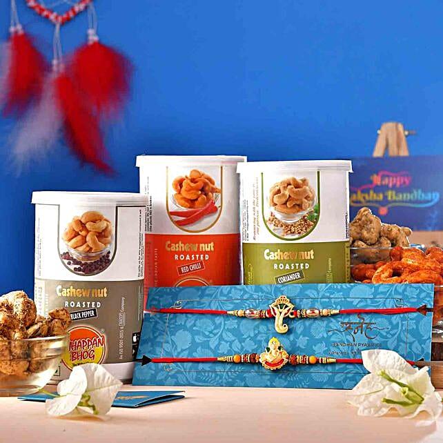 2 Ganesha Rakhis With Assorted Flavour Cashews