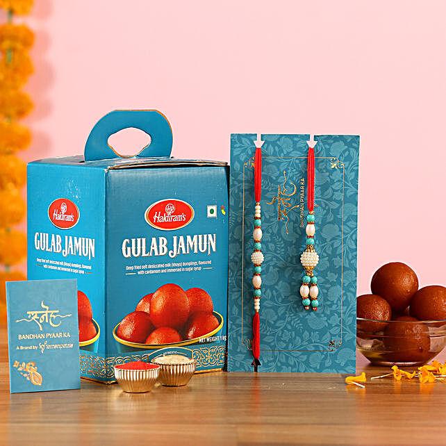 Blue Pearl Lumba Rakhi Set And Gulab Jamun