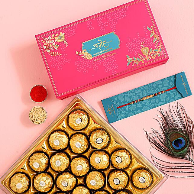 Traditional Pearl Studded Mauli Rakhi And 16 Pcs Ferrero Rocher