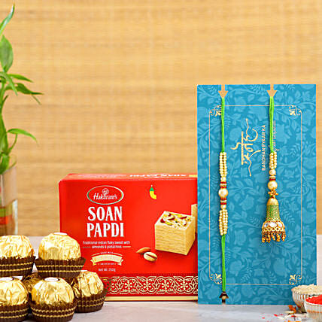Ethnic Lumba Rakhi Set And Soan Papdi With 3 Pcs Ferrero Rocher:Send Rakhi to Malaysia