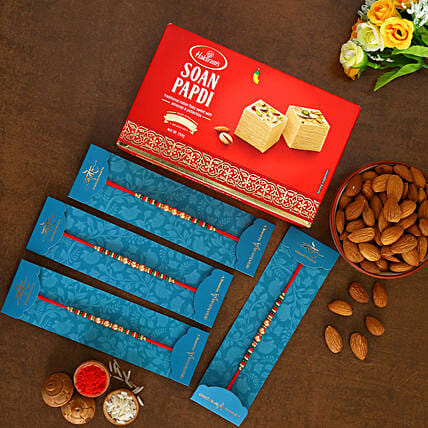 4 Pearl Mauli Rakhis With Soan Papdi And Almonds:Rakhi Delivery in Malaysia
