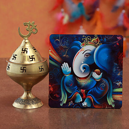 Akhand Diya With Ganesha Table Top:Gifts for Him in Malaysia