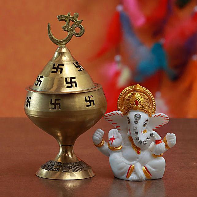 Combo Of Ganesha Idol And Akhand Jyoti Diya:Gifts for Her in Malaysia