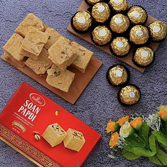 Haldiram Soan Papdi And Ferrero Rocher Combo