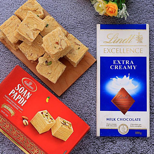 Haldiram Soan Papdi And Lindt Chocolate Combo