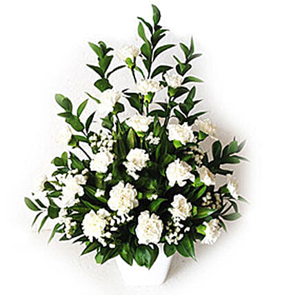 White Carnations In A Vase:Sympathy Flowers to Malaysia