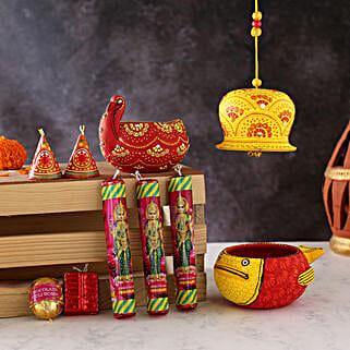 Diya And Bell Set With Cracker Chocolates