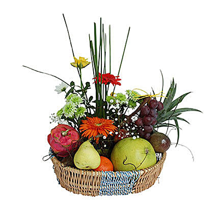 Basket Of Flowers and Fruits