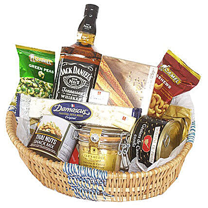 Jack Daniel Crunchy Basket:Send Corporate Gifts to Mauritius