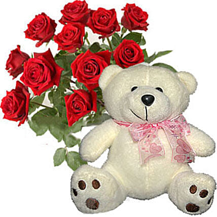 12 Kisses of Roses with Cream White Teddy Bear