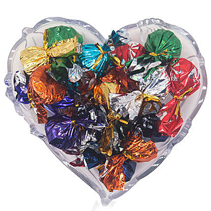 Assorted Chocolate On Heart Plastic Tray