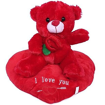 Cute Rose Teddy on Heart Cushion