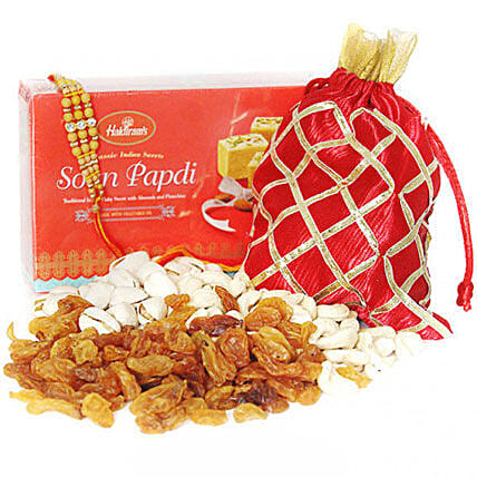 Dry Fruits And Soan Papdi With Designer Rakhi