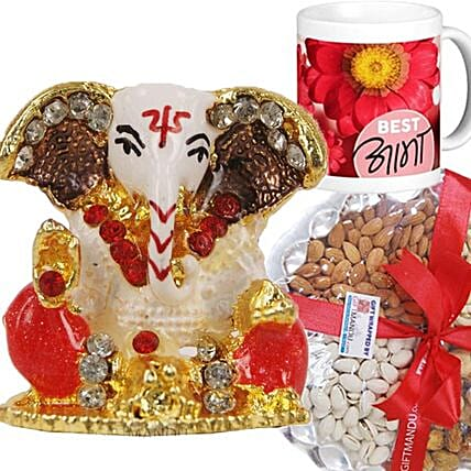 Ganesha Idol With Dry Nuts N Best Aama Mug