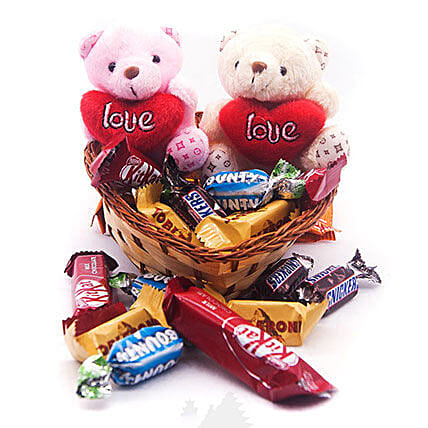 Miniature Chocolates with Couple Teddy in Heart Basket:Gifts Delivery to Nepal