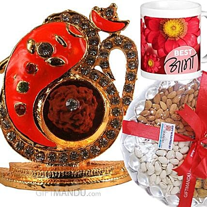 Om Ganesha Idol With Dry Nuts N Best Aama Mug